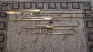 Early trombones played by the Pioneer Brass. Top to bottom: contrabass, bass and tenor sackbutts